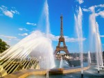 Eiffel Tower and Fountain in Paris, France