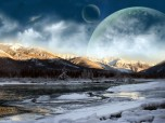 Moon Mountains Laptop Wallpaper