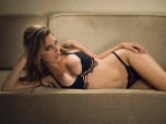 Kelly Brook Underwear Modelling on Sofa