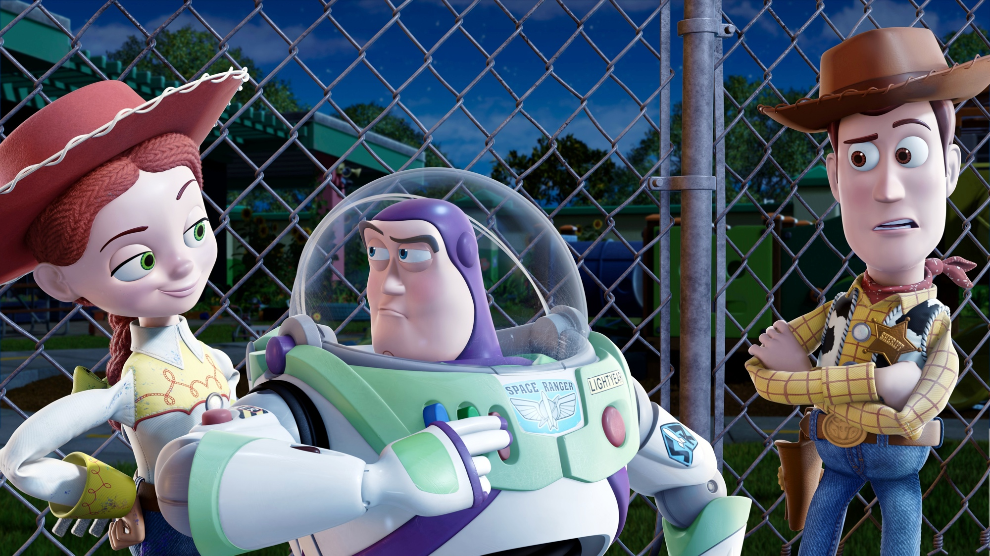 toy story 3 buzz and woody near the fence wallpaper